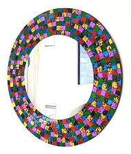 Round rainbow speckled mosaic wall mirror 60cm-hand made in Bali-NEW