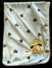 Carters Just One Year Doggone Cute Baby Blanket Blue Brown Paw Prints Crib Plush