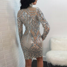 Women Dress Evening Cocktail Mesh Sleeve See Party Sexy Sequins Through Bodycon