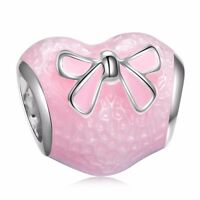 Enamel Pink Heart Bead Lovely Bow-knot Silver Charm Fit New 925 Bracelets Chain
