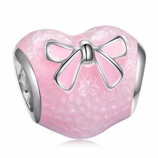 Enamel Pink Heart Bead Lovely Bow-knot Silver Charm Fit New 925 Bracelets Chain