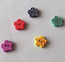 Fiore in Legno a Pois Craft Abbellimenti pulsante x 10 (1cms)
