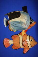 "(2) Coral Reef Bathroom Decor Tropical Fish Wall Hangings, 12"", F-51 F-55"