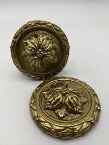 2 Vtg Heavy Solid Brass Gold Drapery Curtain Hold Tie Backs Medallion Japan