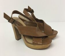 NEW LOOK Faux Leather Tan Wooden Block Heel Womens Sandals Size 5 Wide UK Straps