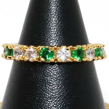Sparkling Emerald Ring Women Wedding Jewelry Size 6 to 9 14K Yellow Gold Plated