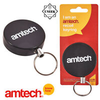 Stainless Black Retractable Recoil Key Chain Heavy Duty Steel amtech - S6360