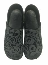 Sanita Women's Gray/Black Floral Cloth Closed Clogs Size 40/US 9.5/US
