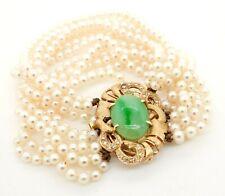 Vintage 14K YG 0.30CT VS diamond 16.3 x 11.7mm jade multi-strand pearl bracelet