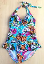 Debenhams Swimming Costume 12 A B Halterneck Pool Holiday Built In Bra Floral