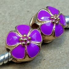 2PC Rose Gold Plated Light PURPLE Cherry Blossom Flower European Spacer Charms
