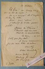 ♦ Henri CRISAFULLI romancier né Naples (Italie) étonnante pièce autographe L.A.S