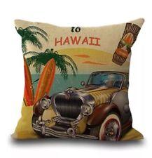 Retro Welcome To Hawaii Cushion Cover Surfers Beach Decor