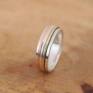 925 Sterling Silver Brass Copper Tri Colour Spinning Worry Band Ring 7mm Thumb