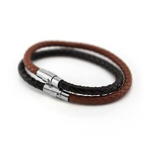 Leather Braided Wristband Bracelet With Magnetic Stainless Steel Clasp