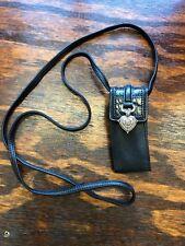 Brighton~Black Leather Croc Cell Phone Holder~Glasses/Card Case~Strap~Belt Clip