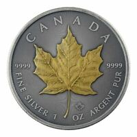 2019 Maple Leaf 1oz .9999 Silver Coin - Antique Gold Edition