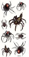 Temporary Tattoo 3D Design Spiders Animals Creepy Long Lasting Body Art