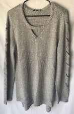 Rock Republic Knit Long Sleeve Top Laced Sleeve Grey Misses XL NWT