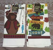 Ritz Set of 2 Wildlife Cabin Bear Kitchen Towels New! Dish Hand Tea Man Cave