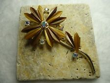 Large Vintage Brown Thermoset Lucite Gold Tone Rhinestone Pin / Brooch...Nice