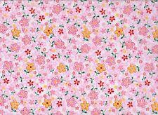 Pink Floral Polycotton Fabric (112cm wide)