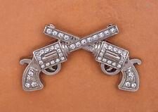 5X BIG Sliver Western Rhinestone Crystal Gun Cross Cowboy Saddles Concho 69*38mm
