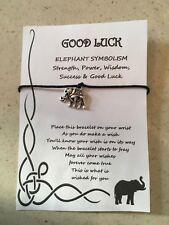GOOD LUCK ELEPHANT SYMBOLISM WISH BRACELET CHARM GIFT CARD COMPETITION EXAM