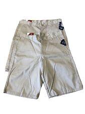 2 Izod Boys Khaki Shorts Flat Front - School Uniform Size 16 Husky - New
