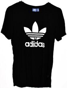 adidas Originals Women's Boyfriend White Trefoil Black Crew Neck T-Shirt Size XS