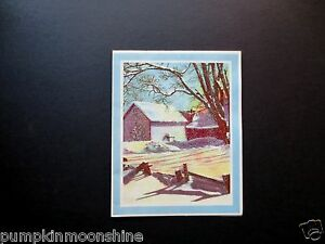 Unused Vintage Glittered Christmas Greeting Card Winter Forest Country Cottage