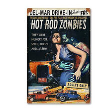 Hot Rod Zombies Comic SHOCKER Movie Horror Film Retro Sign Metal Sign Plaque