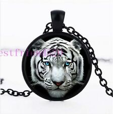 White Tiger Face Blue Eyes Glass Cabochon Black Pendant Necklace + Free Gift