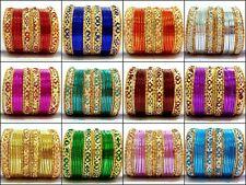 Fashion Gold Tone Colored Indian Kids Bangles 24pcs Set Sizes 1.10, 1.12, 1.14