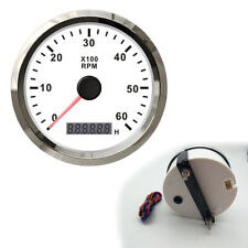 Waterproof Racing Tacho Gauge Tachometer With Hour meter 0-6000RPM 85mm 12V 24V