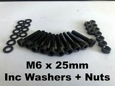 M6 X 25MM BLACK SOCKET CAP SCREWS BOLTS WASHERS NUTS STAINLESS STEEL PACK OF 10