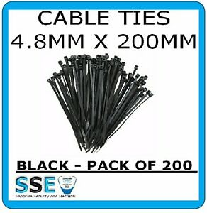 4.8mm Cable Ties x 200mm Length - Professional Grade Black Colour x 100
