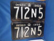 ONTARIO LICENSE PLATE TAG SET PAIR 1950 712N5  MAN CAVE SIGN OLD CAR SHOP GARAGE
