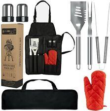 SET BARBECUE - Kit Professionale 7 Pezzi In Acciaio Inox-Portatile Accessori BBQ