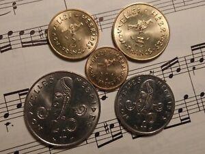 NEW HEBRIDES 1979 Complete 5-coin Single Date Set KM2.2-6.2 HIGH GRADE - RARE !