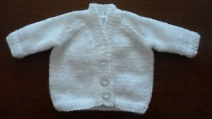 Hand knitted v neck  cardigan baby girl prem - 6-12months