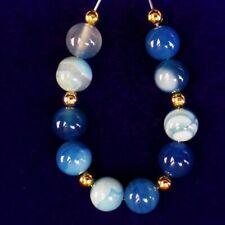 Round Ball Pendant Bead H04164 10Pcs/Set 8mm Blue Stripes Onyx Agate