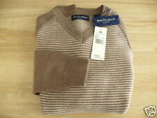 $145 AUSTIN REED LONDON MENS XL TWILL HEATHER BROWN 100% MERINO WOOL SWEATER NWT