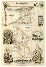 Trinidad Caribbean British Guiana illustrated map Fullarton ca.1872
