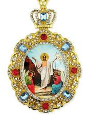 Resurrection Of Christ Jesus Icon Pendant Jeweled Frame Easter Gift Wall Decor