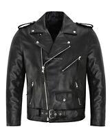 Mens Brando Leather Jacket Motorcycle Perfecto Black Cowhide Marlon Biker Jacket