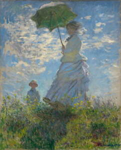 Claude Monet Woman with a Parasol Madame Monet and Her Son Giclee Canvas Print