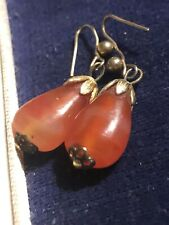 Gold Rare Collectable Early 1900S Antique Edwardian Carnelian & Rolled