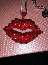 Betsey Johnson Necklace Lips Red Silver Sexy Crystals Rolling Stones Gift Box