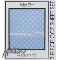 Bubba Blue Polka Dots 3 Piece Cot Sheet Set - Blue